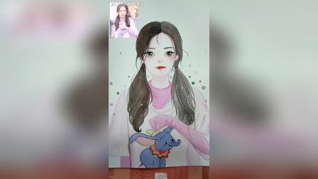 水彩手绘女生头像