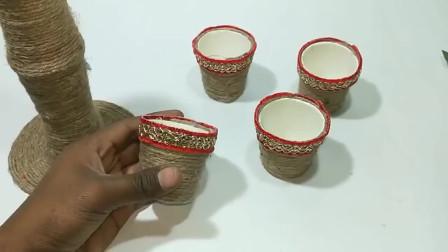 当一次性纸杯遇到麻绳,变成一个有艺术范的手工花架!