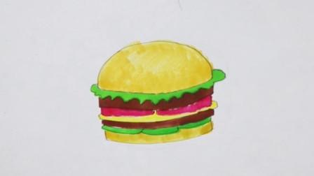 小理简笔画教程:今天教大家简单几笔就可以画出美味的汉堡包,快来和小理一起来画吧!