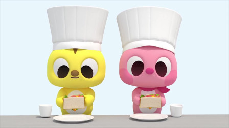 迷你特工队   益智动画-3D萌宝做汉堡,学习知识认识蔬菜