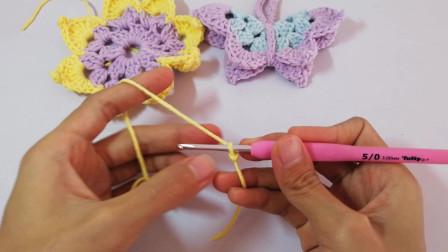 手工钩针编织双层蝴蝶装饰发饰头饰视频教程