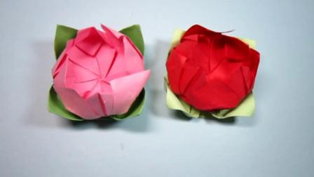 手工折纸,莲花的折法,好看又好学只需3分钟就能完成