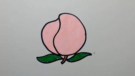 虫虫简笔画:教你如何画水蜜桃,认识颜色学英语,儿童轻松学画画