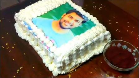 老公过生日,做个照片蛋糕送给他,老公惊喜得都要哭了