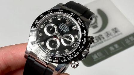 【金子讲表】N厂全新劳力士迪通拿黑面钻钉陶瓷圈胶带腕表测评