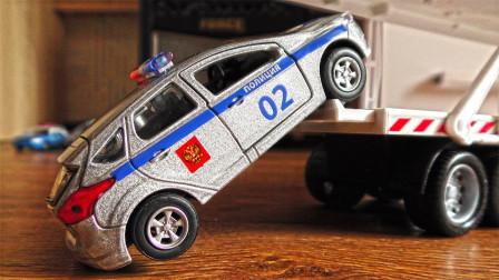 双层大卡车运输炫彩小汽车玩具