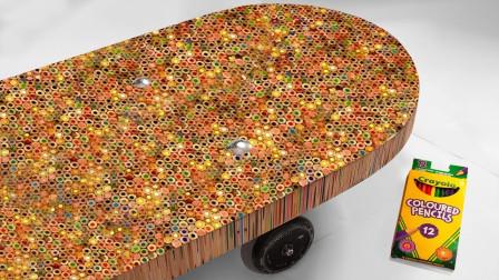 """厉害了,小伙用一万根铅笔打造出""""巨型滑板"""",滑起来也太帅了"""