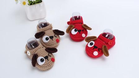 30种宝宝鞋编织教程眯眼狗鞋子动物鞋子钩针编织视频
