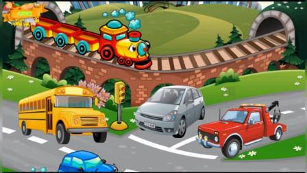 学习认知交通工程车 工程车总动员 儿童卡通休闲益智游戏