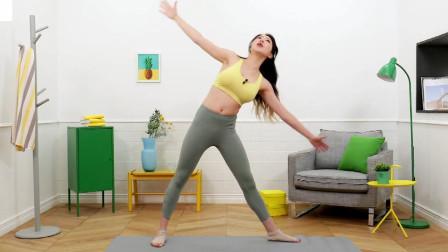 打造苗条火爆身材,站姿侧转体韧带拉伸腰部脂肪燃烧,增肌塑形