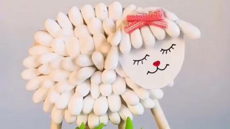 小棉签大创意,制作超简单的手工DIY棉签小白羊,儿童手工作业首选