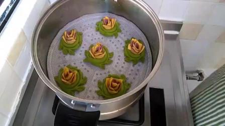 紫薯、南瓜和菠菜制作花样馒头,好看又好吃!