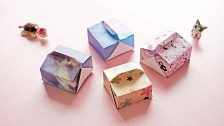 一张纸折好的迷你蛋糕盒,当作收纳盒也不错,步骤挺简单!