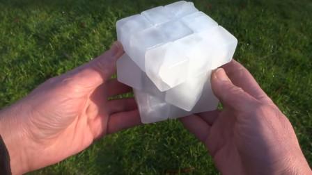 老外用冰块做了个魔方,创意不错,可是六个面都一样该怎么玩?