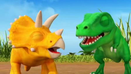 三角龙霸王龙剑龙把松子当足球 恐龙动漫