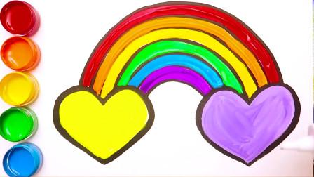 亲子早教绘画涂鸦,七彩大桥顶天高,最后亮了,闪闪发光的彩虹桥