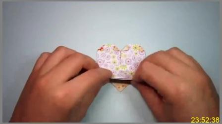 手工折纸教程,天使爱心的简单折法,带有翅膀的心形你会吗