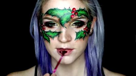 国外大师美妆秀:原来美女脸上的绿色树叶是手工画上去的,手艺很酷很赞的噢