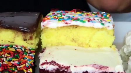 国外女吃货吃红丝绒、巧克力、黄金方蛋糕配哈根达斯香草冰淇淋