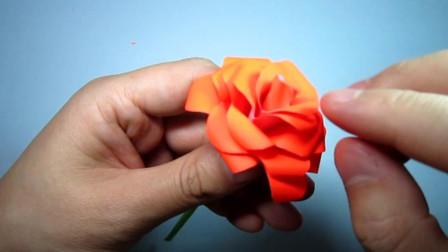 手工折纸,玫瑰花的折法,简单的几张纸就能组合成漂亮的玫瑰花