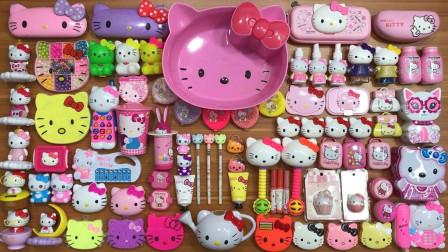 各种玩具KT猫混入无硼砂泥,搭配彩珠亮粉来捏,最后效果美美哒