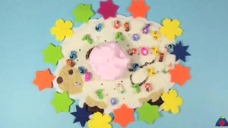 水晶泥粉色棉花泥像蛋糕一样的草莓奶油泥