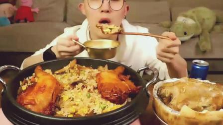烤鸭牛肚炒饭, 呼声超级高蛋挞鸡! 吃这么好这位小哥肯定很有钱
