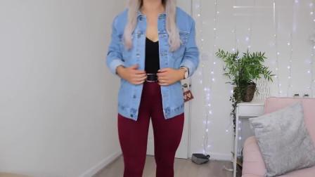 时尚穿搭牛仔上衣+红色打底裤+白色帆布鞋