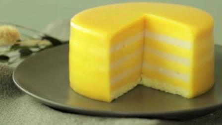 芒果椰子果冻蛋糕做法: 3分钟教你, 自制高颜值果冻蛋糕, 做法简单, 口感和果冻一样Q弹爽滑