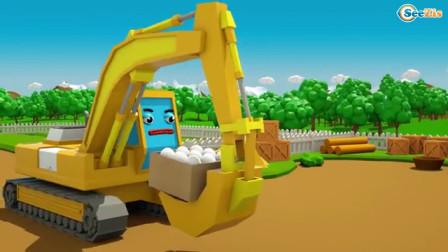挖土机和小货车一起摘圆白菜