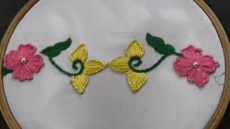 刺绣小妙招,花边图案的刺绣方法,难度2颗星(步骤22)