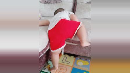 小宝宝很努力想爬到沙发上,接下来宝宝着急的样子太可爱了!