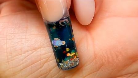 指甲里可以养鱼?妹子自制网红鱼缸美甲,外国人真会玩!