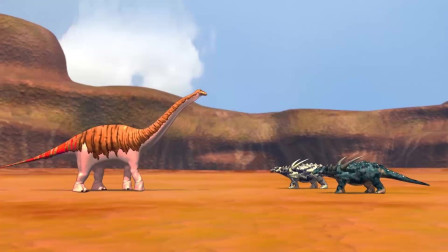 恐龙战争:迷惑龙vs蜥结龙,1v2草食者的对战