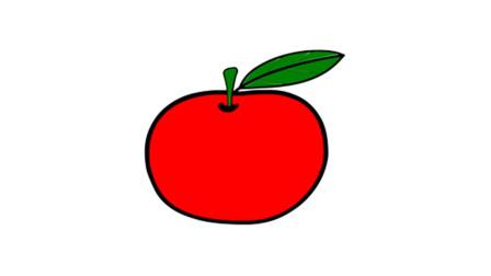 如何简画一只苹果 然后上彩色