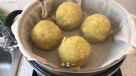 菠菜鸡蛋虾仁小菜团子的做法
