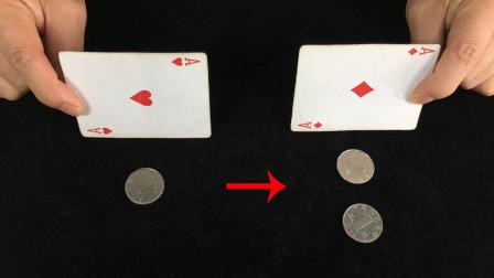 为什么扑克牌一盖,硬币就能从左边隔空跳到右边?学会后骗朋友玩
