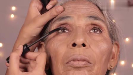 妹子给80岁外婆化妆,上完妆后,瞬间年轻了