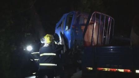 小车追?#19981;?#36710;导致货车失控撞到树司机被困