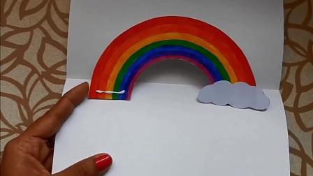小学生手工,教你用彩纸制作简单的彩虹贺卡,一学就会