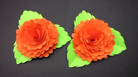 小学生手工,用彩纸折叠漂亮的花朵,简单易学