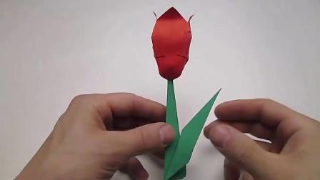 小学生手工,教你用彩纸折出漂亮的郁金香,一步一步很详细