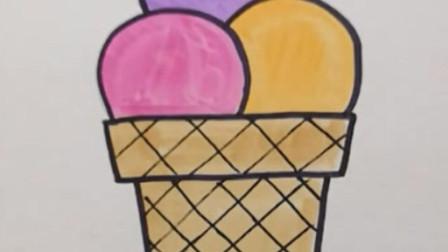 英语单词启蒙卡简笔画ice cream冰激凌