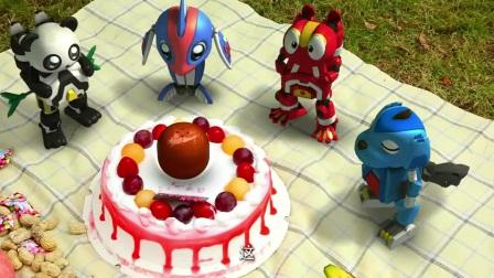 快乐酷宝:生日快乐歌响起,蛋糕瞬间爆出个大恐龙