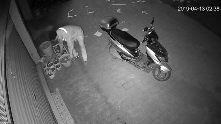 【重庆】男子凌晨骑电动车偷花 监控拍下全过程