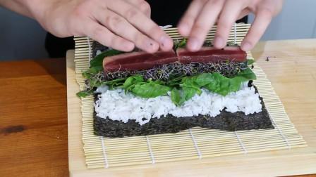烤金枪鱼寿司卷食谱,精彩视频教学