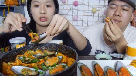【大胖和软软】韩式辣酱青口贝宽粉! 吃播 吃货 美食 情侣