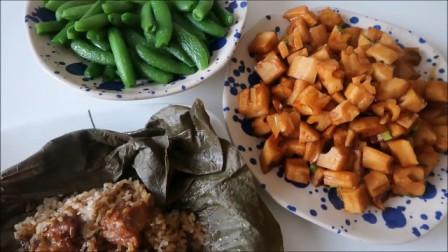 这么简单的食材也能丰富一天的三餐?荷叶排骨糯米饭红烧牛肉面