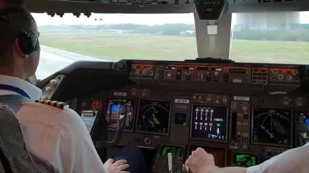 波音747-400飞机进去跑道,随后加速起飞,让人大开眼界!