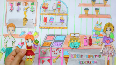 迪士尼剪纸手工:小姐姐冰激凌店开业了,一共有几种口味冰激凌